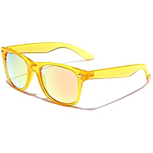 Retro 80's Fashion Sunglasses - Colorful Neon Translucent Frame - Mirrored Lens - Orange