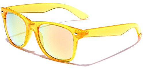 Retro 80's Fashion Sunglasses - Colorful Neon Translucent Frame - Mirrored Lens - - Orange Cheap Sunglasses