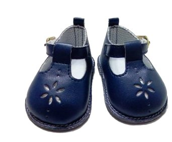 DollsHobbiesNmore NAVY FLOWER SHOES COMPATIBLE WITH AMERICAN GIRL DOLLS ()