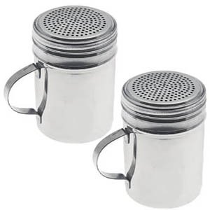 Dozenegg Stainless Steel Versatile Dredge Shaker, Set of 2 (Steel Condiment Shakers Stainless)