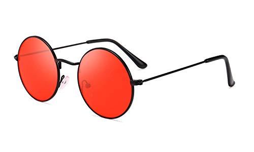 Round Retro Sunglasses Men Women Steampunk Style Circle Sun Glasses (Black/Red, ()
