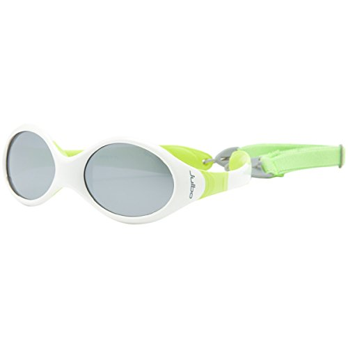 Julbo Looping III Toddler Sunglasses, Spectron 4 Baby Lens, White/Lime green Frame with Cord, 2-4 Years from Julbo