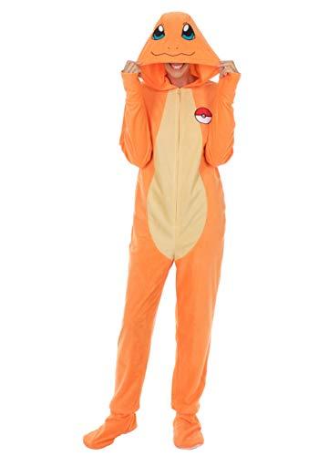 Pokemon Charmander One Piece Union Suit Pajama for Men (Orange, X-Large)