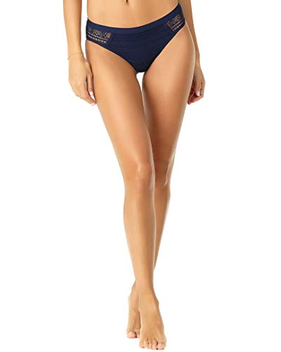 Anne Cole Women's Crochet Spliced Bikini Swim Bottom, in First lace Solid Navy, Small (Crochet Bikini Bottoms)