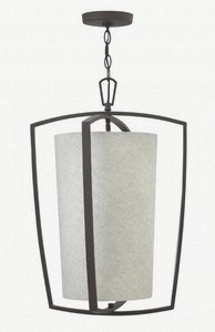 Hinkley 3793KZ Blakely - Three Light Small Foyer, Buckeye Bronze Finish with Dune Heathered Linen Shade (Heathered Linen)