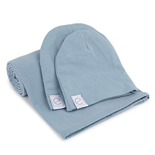Cotton Knit Jersey Swaddle Blanket and 2 Beanie Baby Hats Gift Set, Large Receiving Blanket by Ely's & Co (Dusty Blue)