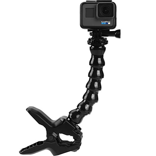ALLCACA Clamp Mount Jaws Flex Clamp Mount with Adjustable Neck for Gopro Hero Sport Video Camera, Black