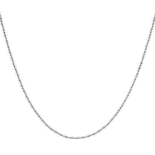 18' Solid Bead (Solid 14K White Gold Ball Chain Necklace - 18'')