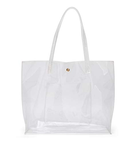 Women's Soft Faux Leather Tote Shoulder Bag from Dreubea, Big Capacity Tassel Handbag New Clear