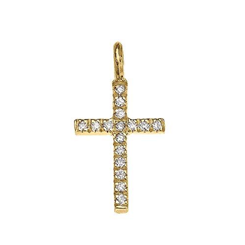 Collier Femme Pendentif 14 Ct Or Jaune Diamant Croix Charme (Livré avec une 45cm Chaîne)