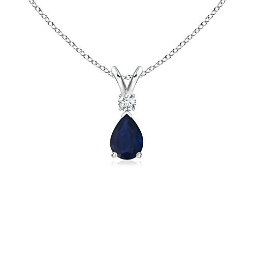 (Blue Sapphire Teardrop Pendant with Diamond in 14K White Gold (6x4mm Blue Sapphire) )
