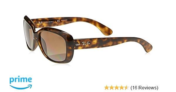 8eefb87d18f8 Amazon.com: Ray-Ban Women's Jackie Ohh Polarized Rectangular Sunglasses,  LIGHT HAVANA, 58 mm: Clothing