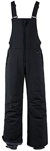 Wantdo Men's Ski Pants Waterproof Bib Pants Insulated Winter Overall Black M (Mens Skiing Bibs)