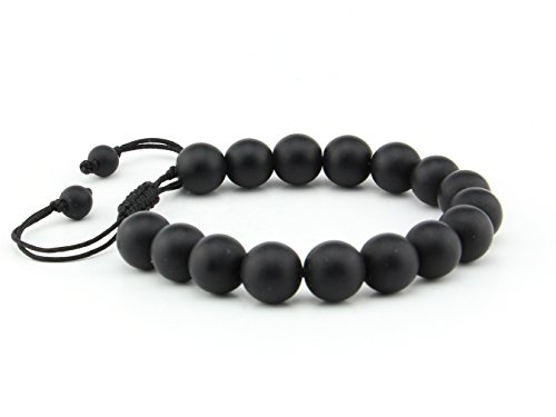 Natural Black Matte Onyx 10mm Lucky Gemstone Bead Adjustable Pull & Tied Bracelet Fits All Men - Pull Fit