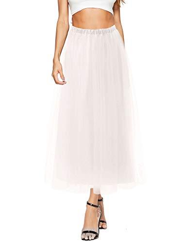 DittyandVibe Womens Tulle Skirt Mesh Maxi Bohemian Skirts White Size 10-16 -