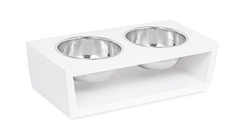 rn Elevated Pet Feeder | 2 Small Dog Bowls | Decorative Raised Stand with Double Stainless Steel Bowls | Non Spill | White ()