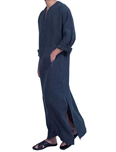 Sebaby Mens Muslim Ethnic Style Linen Arab Solid Color Long-Sleeve Kaftan Black 2XL by Sebaby