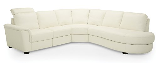 Lyon 77877 5-Seat Curved Corner Reclining Sectional with Bumper, Broadway Alabaster (Sets Furnature)