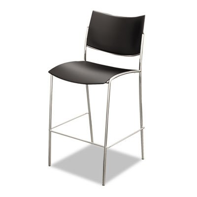 Mayline Escalate Stack Stool Plastic Seat and Back, (Qty. 2), Black by Mayline Group