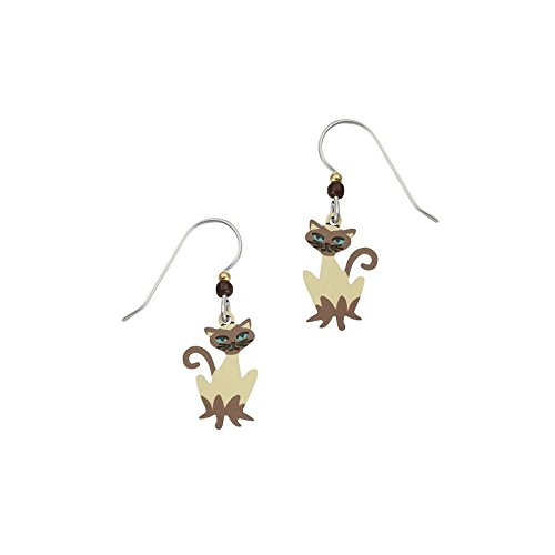 (Sienna Sky Artisan Rajah Siamese Cat Earrings with Gift Box)