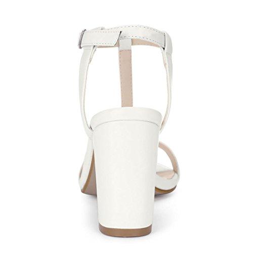 Allegra 6 5 Cinturino Tacco Bianco Sandali K Punta Grosso Aperta Abito T Donne US 67a6Sr