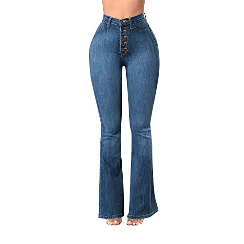TIANMI Women's Jeans,Fashion Slim Straight line Button Flare Jeans Loose Denim Pocket Button Boot Cut Pant Jeans