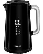 Krups BW8018 Smart'n Light Elektrische waterkoker, 5 temperatuurniveaus, digitaal display, 30 minuten warmhoudfunctie, automatische uitschakeling, inhoud 1,7 liter, dubbele wandconstructie, zwart