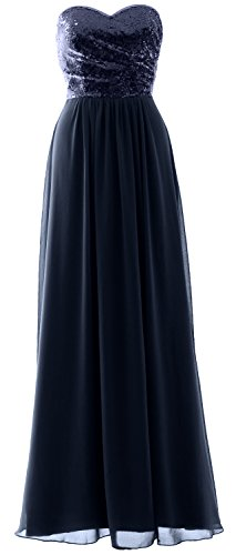 Bridesmaid Chiffon Dunkelmarine Strapless Gown Party Sequin Long Formal Dress Elegant MACloth H1wxqnZx