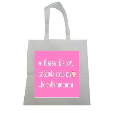Cute Boy Who Stole My Heart Quote Halloween Trick Or Treat Polyester White Tote Bag 15x16x 3.5]()