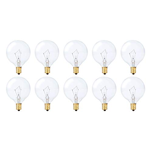 (Simba Lighting Globe G16.5 Round Bulb 60W E12 Candelabra Base (10 Pack) for Chandelier, Ceiling Fan Light, Decorative Vanity Lights, Wall Sconce, Clear Glass, 110V 120V, 2700K Warm White, Dimmable)