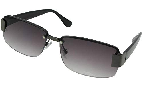 (R43 Fashion Full Reader Lens Reading Sunglasses With Sunglass Rage Pouch (Pewter Frame-Gray Lenses, 2.00))