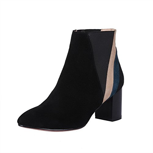Toe Women's AmoonyFashion Kitten Black with Heels Toe Rough Boots and Heels Round Thread Closed dUdqnIBw