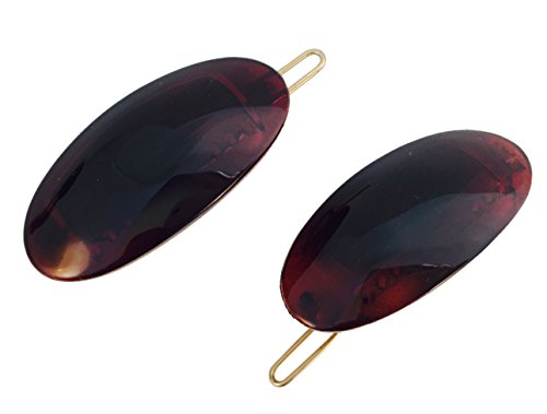(Parcelona French Oval Tortoise Shell Brown Small Celluloid Acetate with Snap on Hair Pin Barrette Clip for Girls - 2 Pieces)