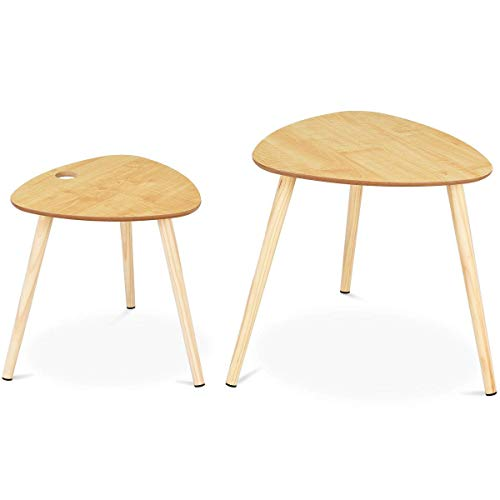(Giantex 2 Pcs Nesting Coffee Tables End Table Accent Sofa Side Table Home Living Room Office Modern Décor Coffee Table w/Wooden Leg )