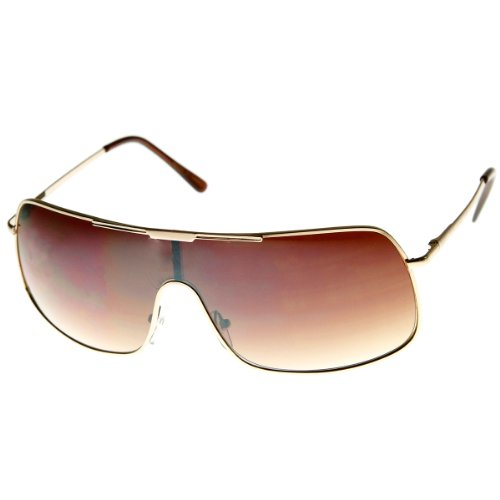 [zeroUV - Color Mirror Single Lens Metal Wraparound Shield Sunglasses (Gold Amber)] (Gold Wrap Around Sunglasses)
