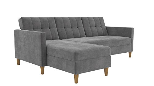 - DHP Hartford Storage Sectional Futon with Interchangeable Chaise, Space-saving Design with Multi-position Back, Wooden Legs, Grey Chenille