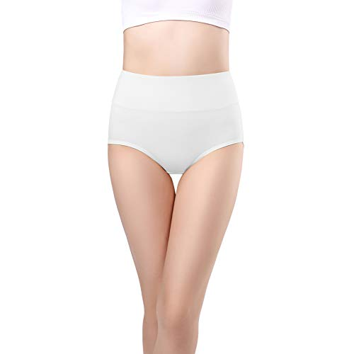 22aed56df1e3 wirarpa Womens Cotton Underwear Panties High Waisted Full Briefs Ladies No  Muffin Top Underpants 4 Pack White Size 5, Small
