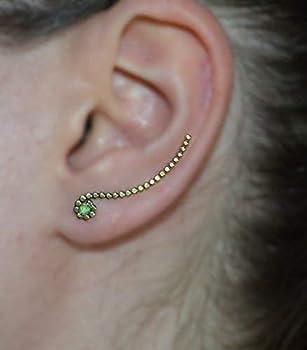 Earcuff Up The Ear Earrings Climber Earrings Kiwi Green Opal Post Earring Kiwi Green Opal EAR CLIMBER  14k Gold Filled Earrings