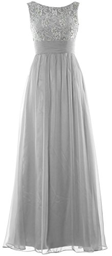 MACloth Evening Wedding Formal Women Silber Chiffon Party Gown Dress Prom Long Lace pFrgwqp