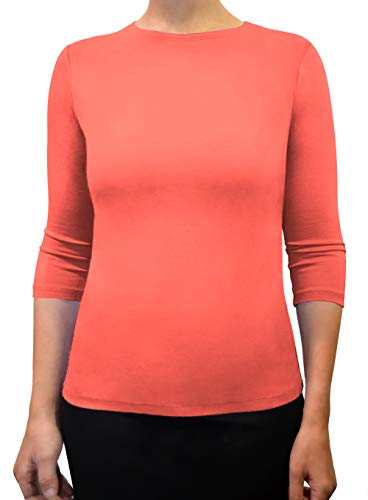 Kosher Casual Women's 3/4 Sleeve Boat Neck Layering Knit Top XXL Living Coral ()