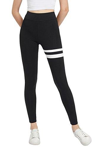 Cuff Leggings (SweatyRocks Women's Grey Knit Crisscross Cuff High Waist Yoga Workout Leggings Black #4 M)