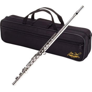 Jean Paul, FL-500CC Flute Bundle Nickel Finish, French-style Sculptured Keys, Silver Plated, French Pointed Arms, Contoured Carring Case