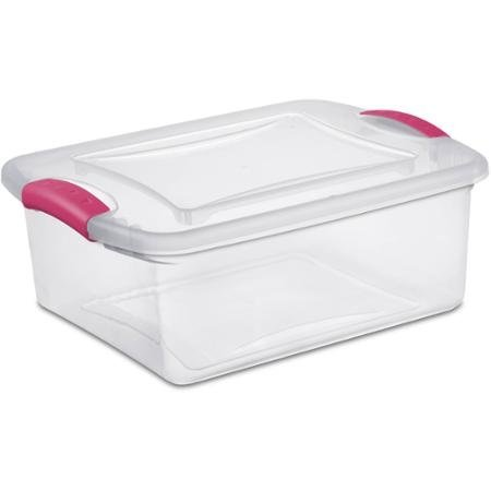 16.5 x 13 x 6.63 15 Quart Pink See-Through Base Heavy Duty Latch Box Fuchsia Burst - Case of 10 by STERILITE (Image #1)