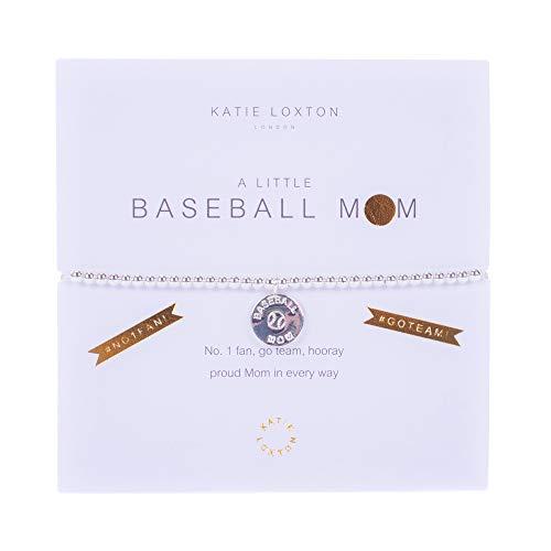 Katie Loxton A Little Baseball Mom Silver Women's Stretch Adjustable Charm Bangle Bracelet