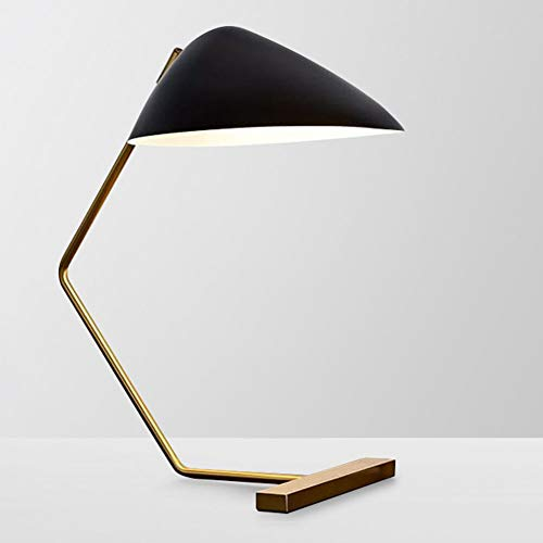 PAPAI Table Lamp Leather Wrought Iron Bedside Lamp Personality Eye Protection Desk Lamp for Bedroom Study Living Room LED, Black ()