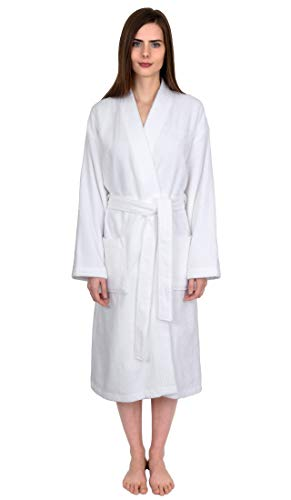 TowelSelections Terry Kimono Bathrobe - Terry Cloth Bath Robe for Women and Men, 100% Turkish Cotton, Made in Turkey (White, L/XL) ()