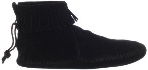 Back Botas Zipper black Mujer Boot Minnetonka Para Negro dwCPqdz