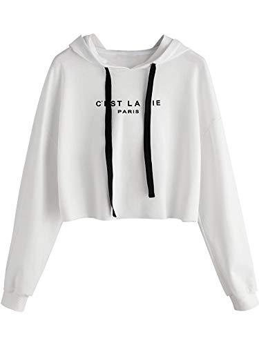 SweatyRocks Women's Letter Print Casual Long Sleeve Crop Top Sweatshirt Hoodies White L