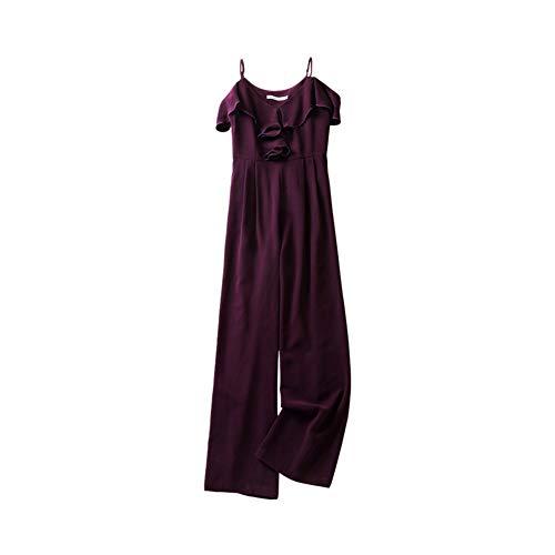 dabuwawa Women Sexy Off Shoulder Jumpsuit 2019 New Elegnt Summer Full-Length Loose Wide Leg Pants (S) Purple from dabuwawa