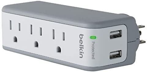 Belkin 3-Outlet SurgePlus Mini Travel Swivel Charger Surge Protector with Dual USB Ports (2.1 AMP / 10 Watt), (Iphone 4 Belkin Essential)